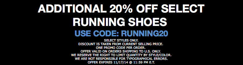Sunday Steals: 20% Off Running Shoes