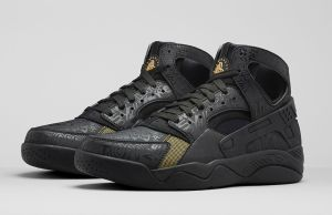 Nike Air Flight Huarache Premium Black Metallic Gold