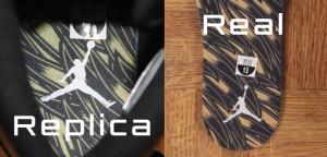 Authentic vs fake Jordan Retro 12 Wings Heel insert print