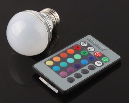 Color Changing LED Light Bulb with Remote for $3 with Free Shipping