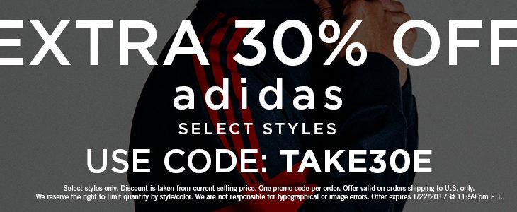 Extra 30% Off Adidas Footwear and Apparel