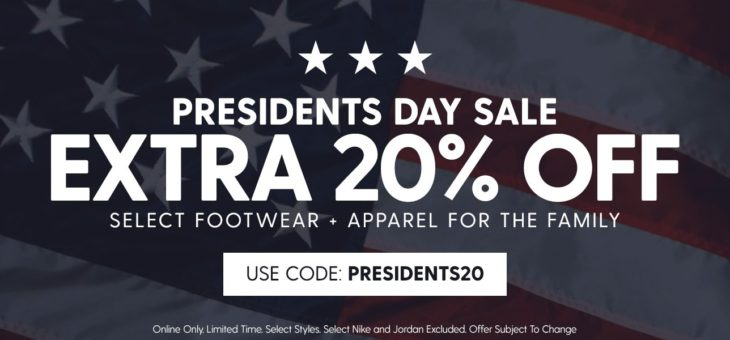 Presidents Day Sale – 20% off Kicks and Clothing