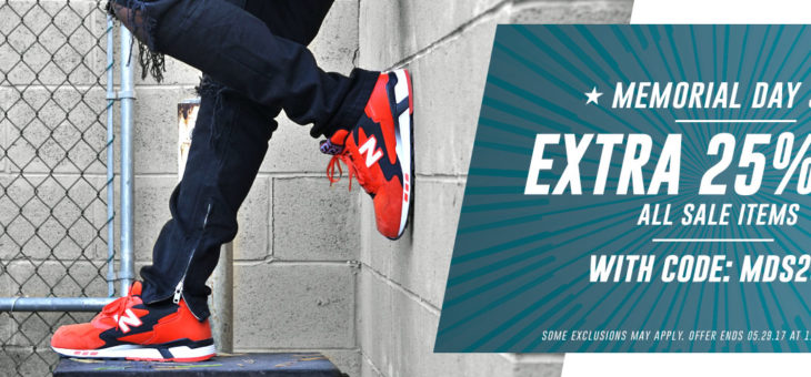 Extra 25% off Kicks and Clothing Memorial Day Sale