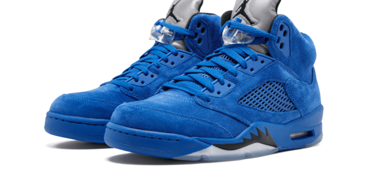"Select sizes of the Jordan Retro 5 Blue Suede ""Flight Jacket"" are available EARLY"