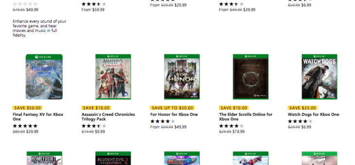 Xbox One Games on sale starting at $4.99
