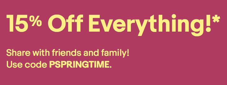 eBay Spring Sale – Take 15% off EVERYTHING