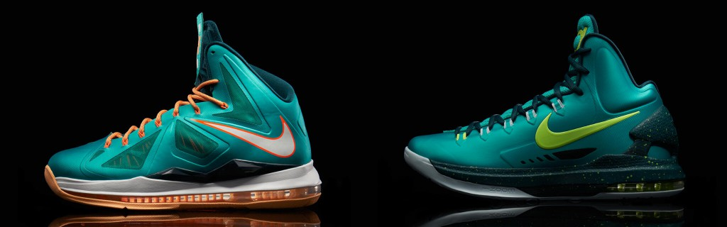 "LeBron X and KD V Atomic Teal aka ""Dolphins"" ""Setting"" ""Gamma Ray"""