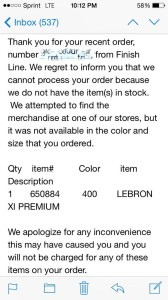 Finish Line What The LeBron WTL 11 Canceled Orders