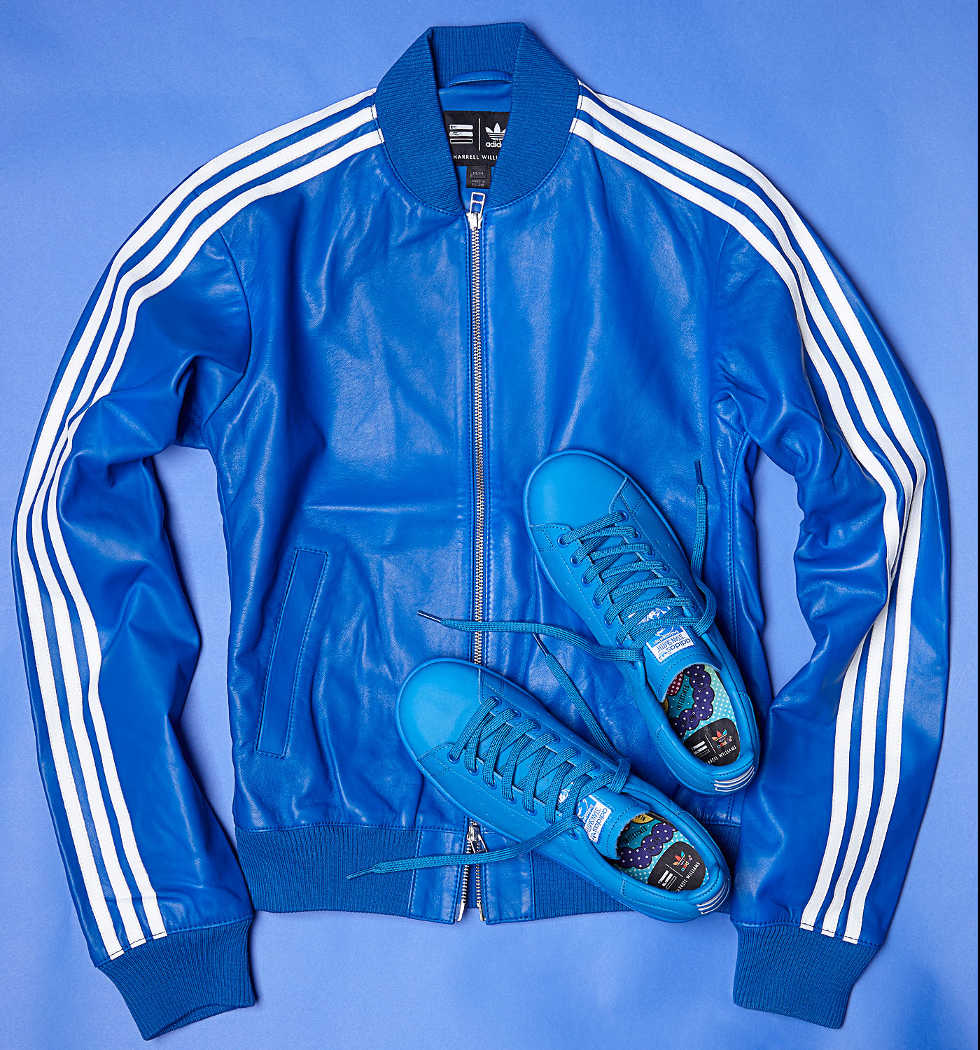 online store 5572d ee458 Adidas Consortium x Pharrell Williams Solid Leather Track Jacket and Stan  Smith Blue