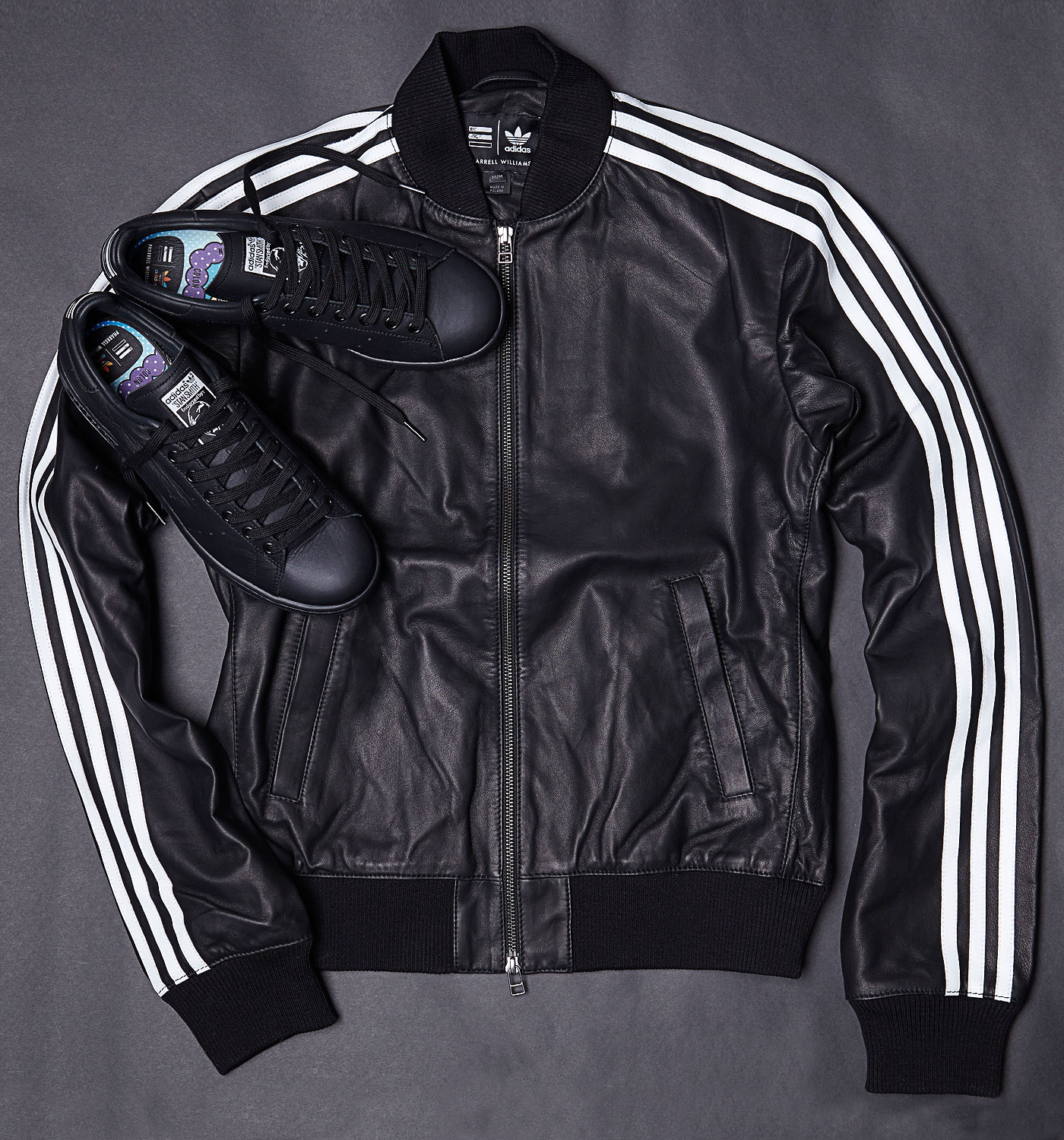 size 40 34077 2b6ea Adidas Consortium x Pharrell Williams Solid Leather Track Jacket and Stan  Smith Black