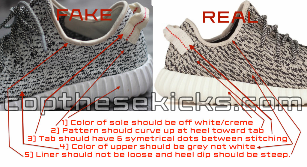 Real vs fake Adidas Yeezy Boost 350 comparison