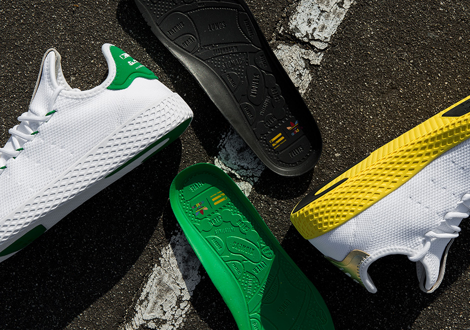 53b1214f2 Pharrell Williams is releasing his first original signature sneaker with  adidas. The PW Tennis Hu continues the Human Race Equality theme of  Pharrell s ...