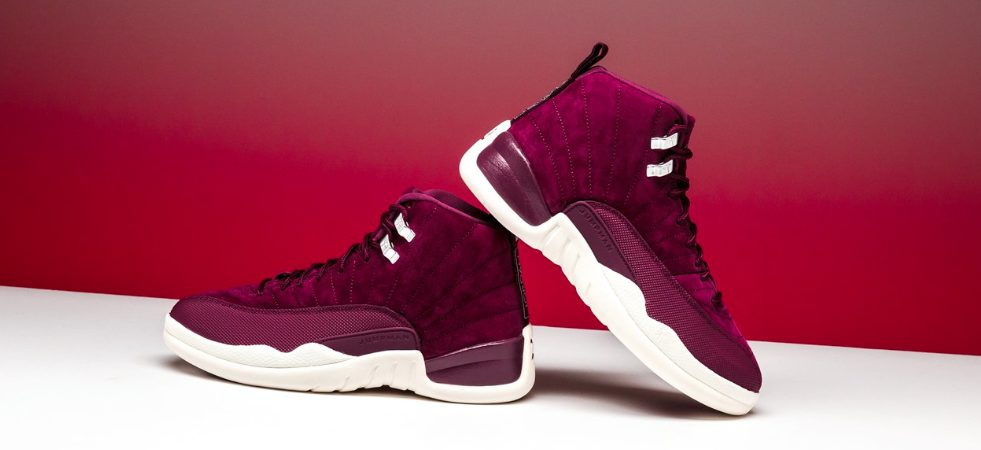 """fa44197c286cc2 The Air Jordan Retro 12 """"Bordeaux"""" features a premium velvet and tumbled  leather. The name Bordeaux is inspired by the wine colored upper."""