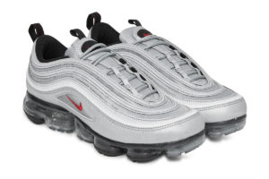 """527f924bee This Iconic """"Silver Bullet"""" Air Max 97 upper gets the VaporMax treatment.  Get the retro look with modern comfort with the Nike Air VaporMax ..."""