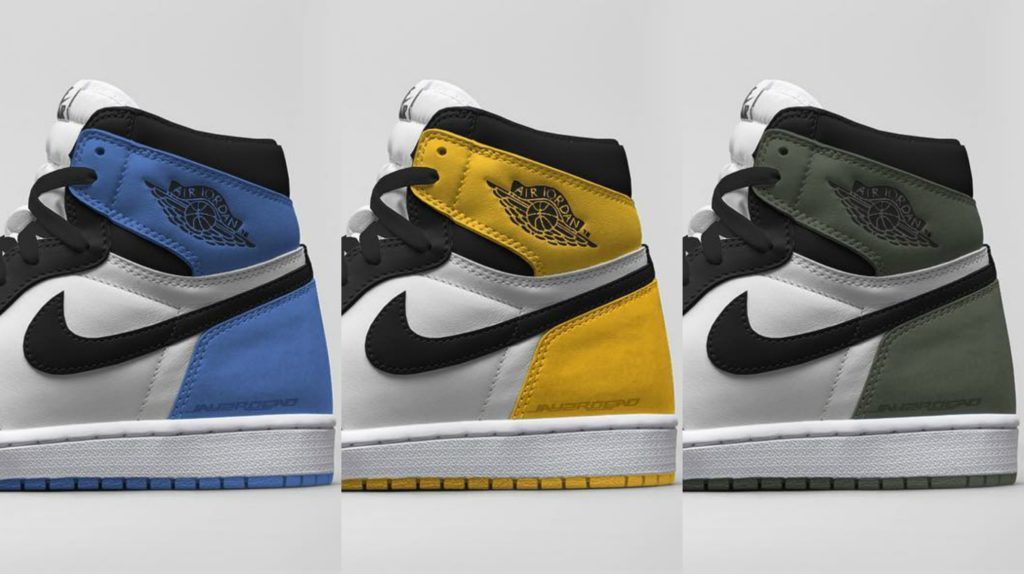 """f8ded55b0be ... Retro 1 OG in Clay Green. Concept Rendering of Three new colorways in a  """"black toe"""" theme. A Blue Moon ..."""