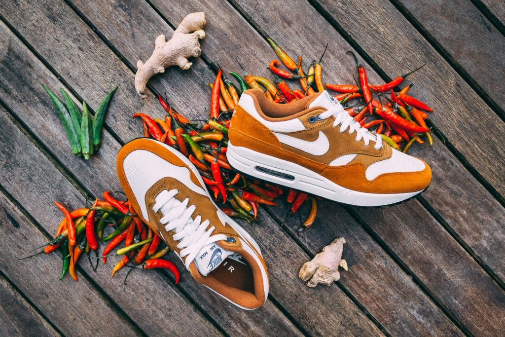 "the latest 8e9bf c4f98 Nike has revived the 2003 Atmos Air Max 1 ""Curry pack"". The three colorways  represent the different chillies used to make spicy curry."